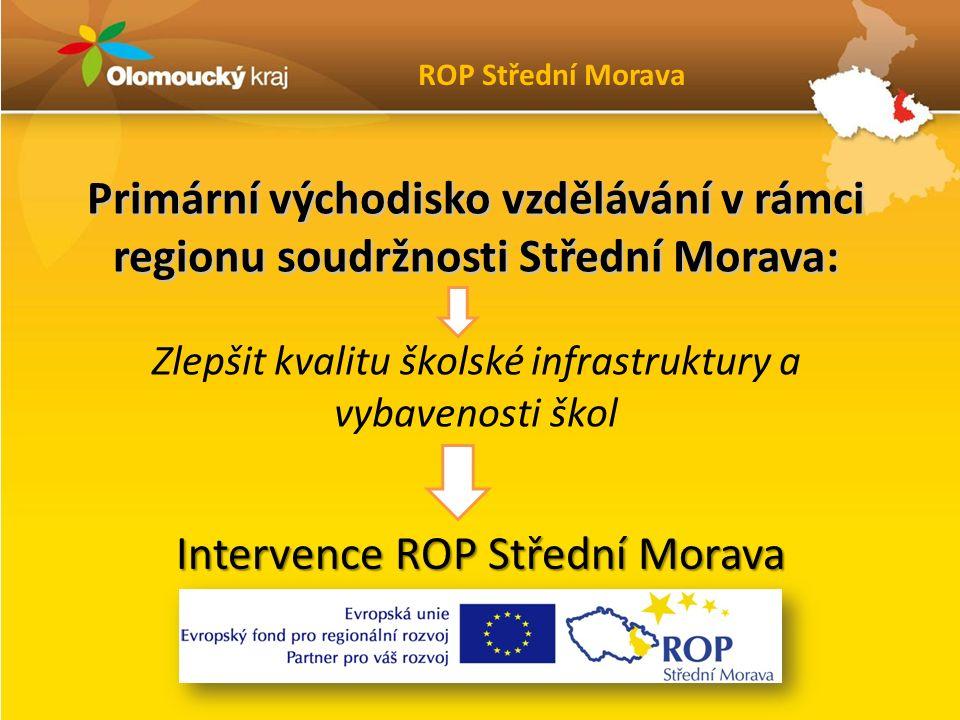 Primární východisko vzdělávání v rámci regionu soudržnosti Střední Morava: Zlepšit kvalitu školské infrastruktury a vybavenosti škol Intervence ROP Střední Morava ROP Střední Morava