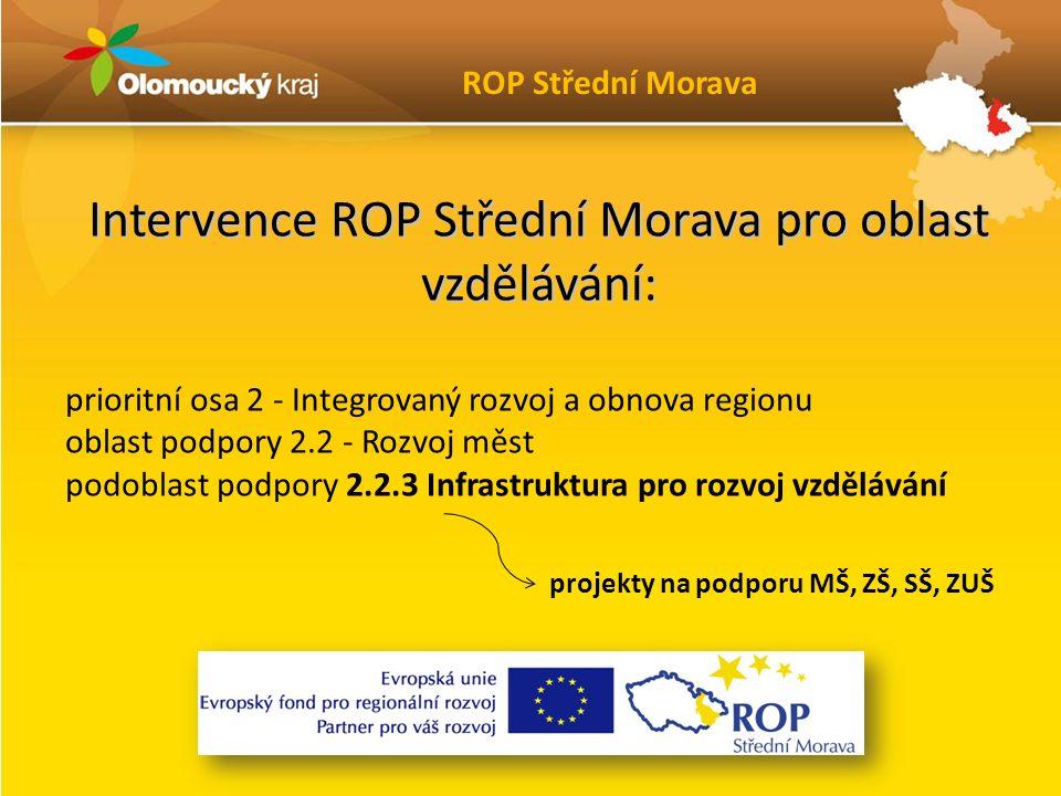 Intervence ROP Střední Morava pro oblast vzdělávání: prioritní osa 2 - Integrovaný rozvoj a obnova regionu oblast podpory 2.2 - Rozvoj měst podoblast podpory 2.2.3 Infrastruktura pro rozvoj vzdělávání ROP Střední Morava projekty na podporu MŠ, ZŠ, SŠ, ZUŠ