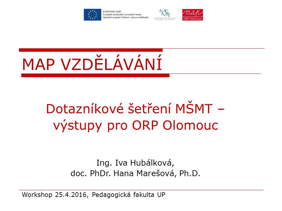 Dotazníkové šetření MŠMT – výstupy pro ORP Olomouc Ing. Iva Hubálková, doc. PhDr. Hana Marešová, Ph.D. Workshop 25.4.2016, Pedagogická fakulta UP MAP