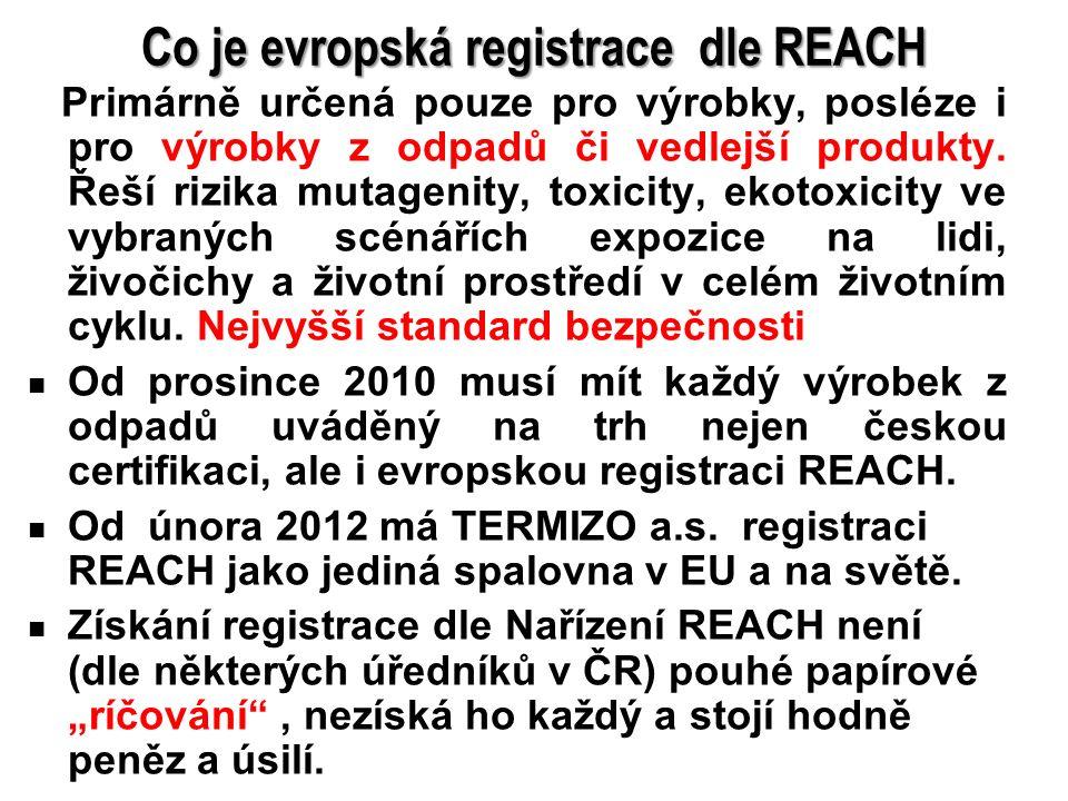 10 Co je evropská registrace dle REACH Primárně určená pouze pro výrobky, posléze i pro výrobky z odpadů či vedlejší produkty. Řeší rizika mutagenity,