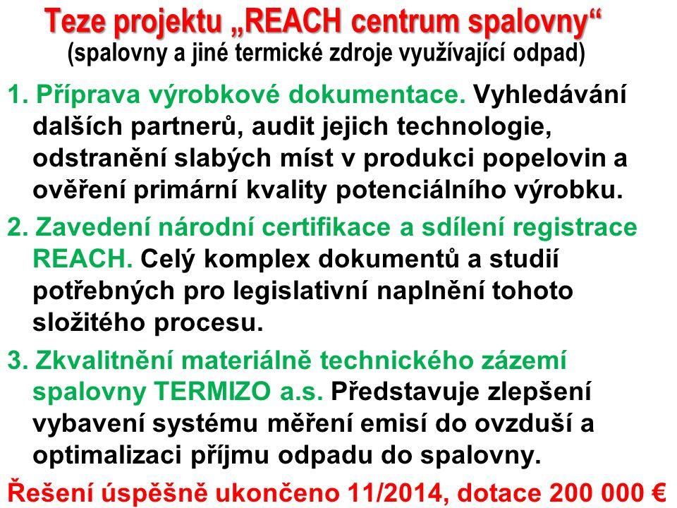 """19 Teze projektu """"REACH centrum spalovny Teze projektu """"REACH centrum spalovny (spalovny a jiné termické zdroje využívající odpad) 1."""
