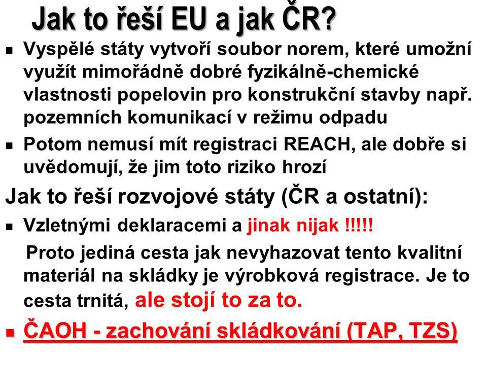 7 Jak to řeší EU a jak ČR? Vyspělé státy vytvoří soubor norem, které umožní využít mimořádně dobré fyzikálně-chemické vlastnosti popelovin pro konstru