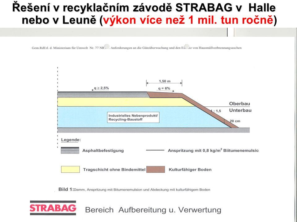 8 Řešení v recyklačním závodě STRABAG v Halle nebo v Leuně Řešení v recyklačním závodě STRABAG v Halle nebo v Leuně (výkon více než 1 mil. tun ročně)
