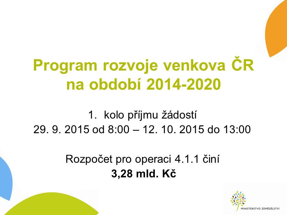 Program rozvoje venkova ČR na období 2014-2020 1.kolo příjmu žádostí 29.