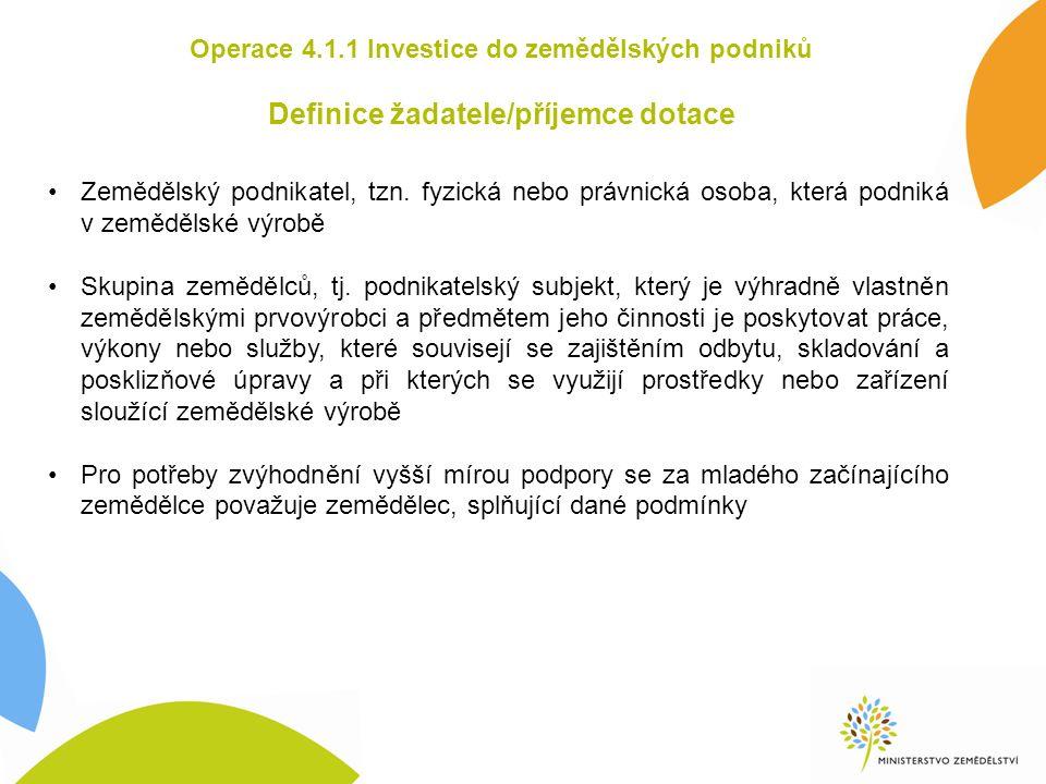 Operace 4.1.1 Investice do zemědělských podniků Definice žadatele/příjemce dotace Zemědělský podnikatel, tzn.
