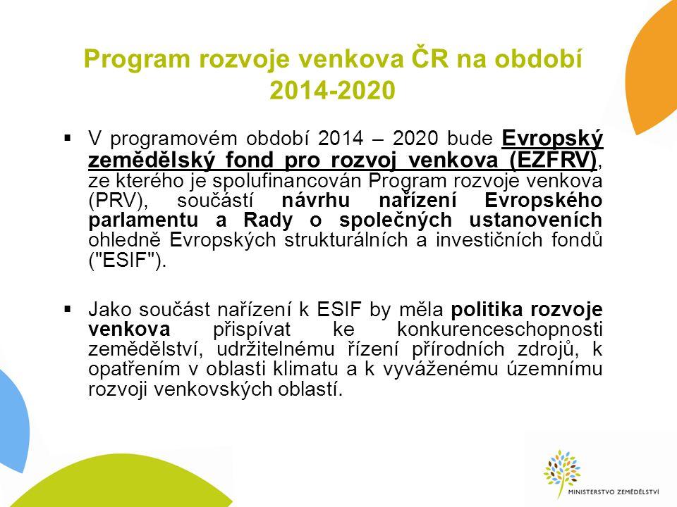 Program rozvoje venkova ČR na období 2014-2020  V programovém období 2014 – 2020 bude Evropský zemědělský fond pro rozvoj venkova (EZFRV), ze kterého je spolufinancován Program rozvoje venkova (PRV), součástí návrhu nařízení Evropského parlamentu a Rady o společných ustanoveních ohledně Evropských strukturálních a investičních fondů ( ESIF ).
