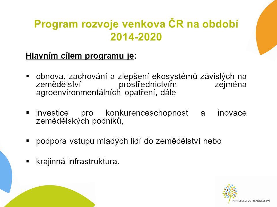 Program rozvoje venkova ČR na období 2014-2020 Hlavním cílem programu je:  obnova, zachování a zlepšení ekosystémů závislých na zemědělství prostřednictvím zejména agroenvironmentálních opatření, dále  investice pro konkurenceschopnost a inovace zemědělských podniků,  podpora vstupu mladých lidí do zemědělství nebo  krajinná infrastruktura.