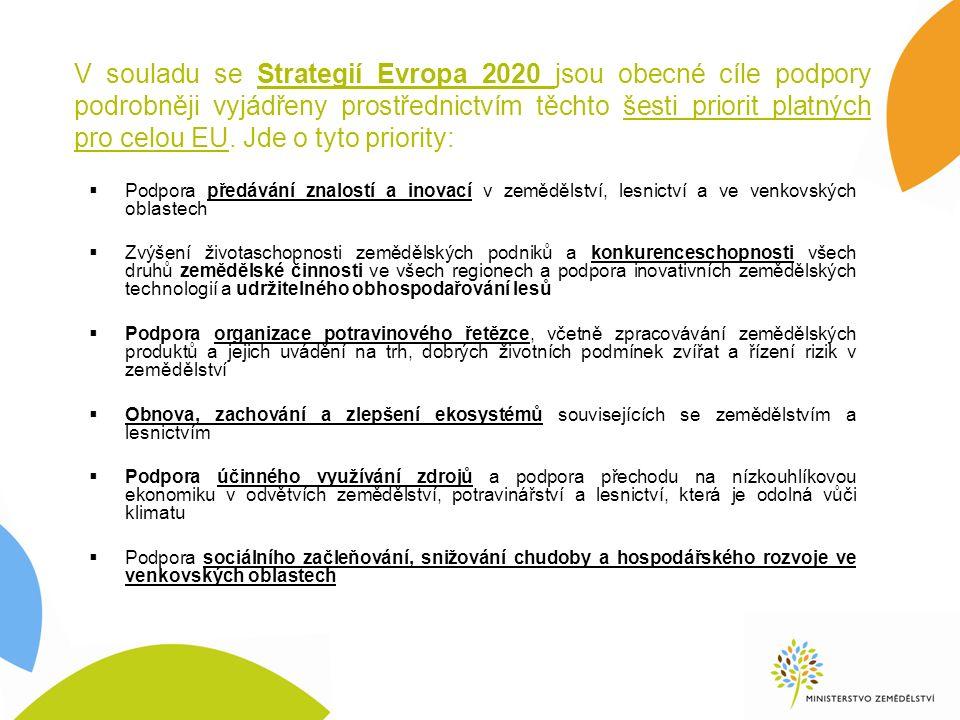 V souladu se Strategií Evropa 2020 jsou obecné cíle podpory podrobněji vyjádřeny prostřednictvím těchto šesti priorit platných pro celou EU.