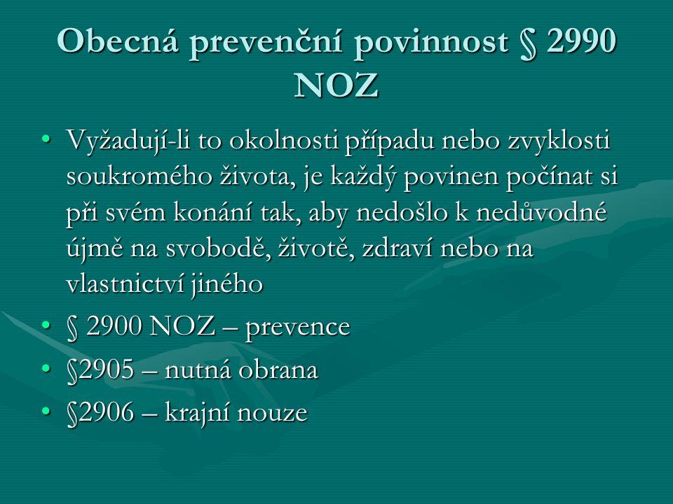 Obecná prevenční povinnost § 2990 NOZ Vyžadují-li to okolnosti případu nebo zvyklosti soukromého života, je každý povinen počínat si při svém konání t