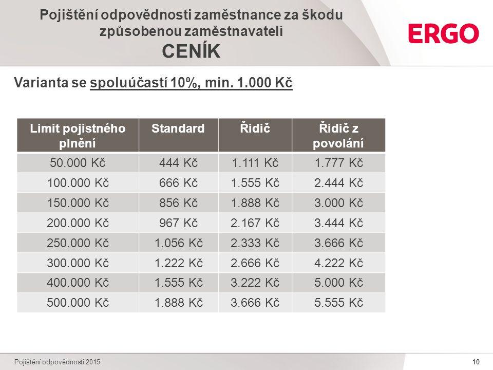 10 Pojištění odpovědnosti 2015 Pojištění odpovědnosti zaměstnance za škodu způsobenou zaměstnavateli CENÍK Varianta se spoluúčastí 10%, min.