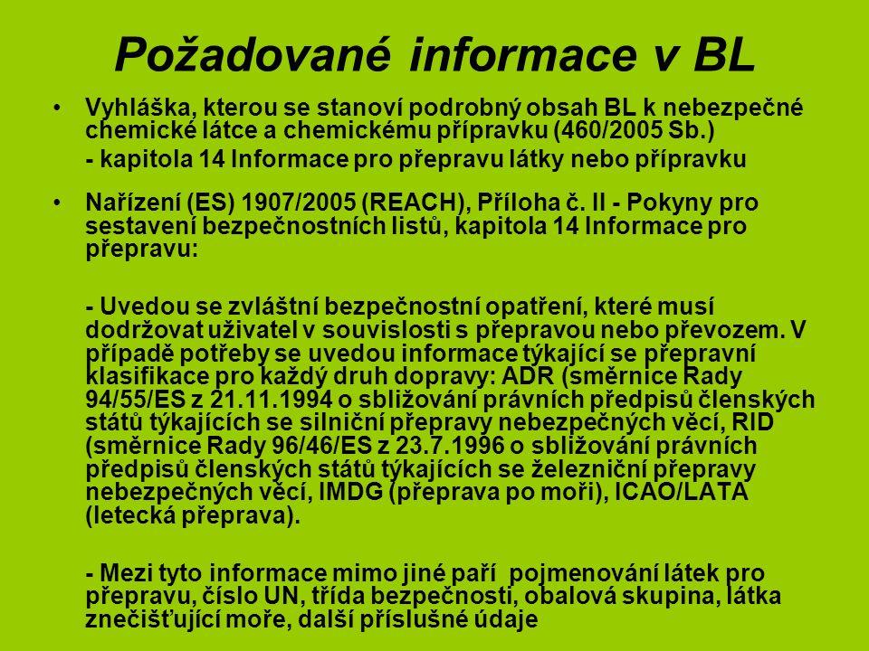 Požadované informace v BL Vyhláška, kterou se stanoví podrobný obsah BL k nebezpečné chemické látce a chemickému přípravku (460/2005 Sb.) - kapitola 14 Informace pro přepravu látky nebo přípravku Nařízení (ES) 1907/2005 (REACH), Příloha č.