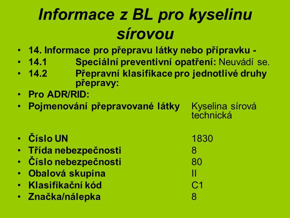 Informace z BL pro kyselinu sírovou 14. Informace pro přepravu látky nebo přípravku - 14.1Speciální preventivní opatření: Neuvádí se. 14.2Přepravní kl