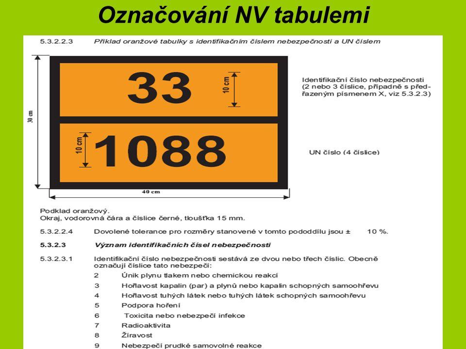Označování NV tabulemi