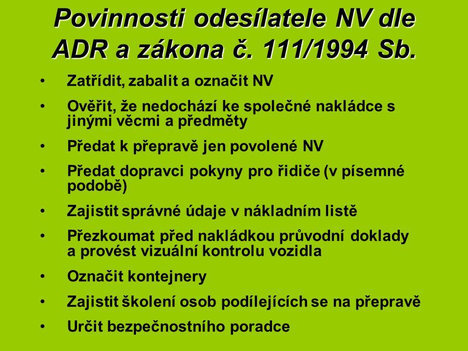 Povinnosti odesílatele NV dle ADR a zákona č. 111/1994 Sb. Zatřídit, zabalit a označit NV Ověřit, že nedochází ke společné nakládce s jinými věcmi a p