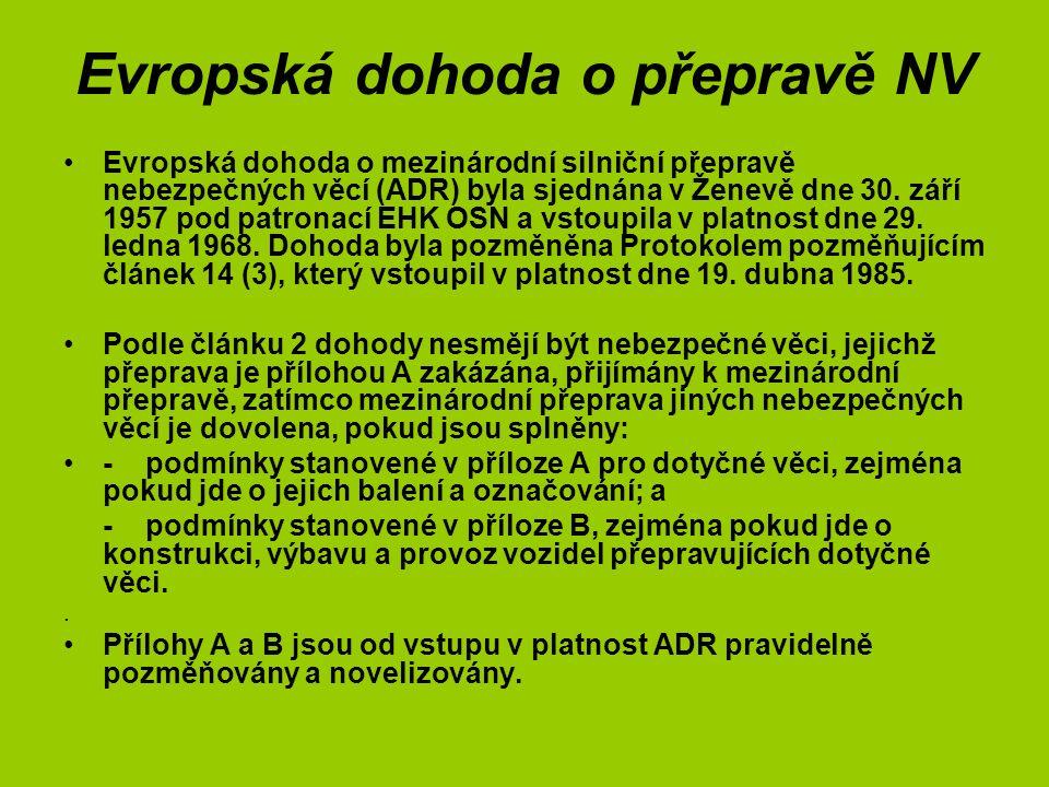 Legislativa pro přepravu CHLP Základem pro ADR - Směrnice Rady 94/55/ES z 21.11.1994 o sbližování právních předpisů členských států týkajících se silniční přepravy nebezpečných věcí, od 1.7.2009 jednotná směrnice EP a Rady 2008/68/ES o pozemní přepravě NV ADR - Evropská dohoda o mezinárodní silniční přepravě nebezpečných věcí (aktuální znění zveřejněné jako sdělení MZV č.