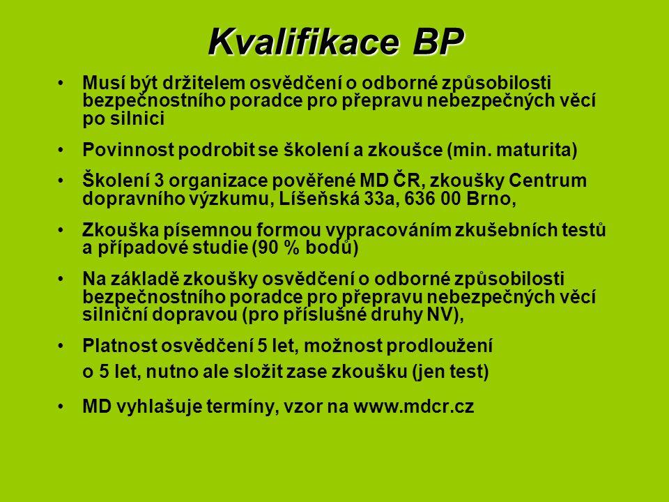 Kvalifikace BP Musí být držitelem osvědčení o odborné způsobilosti bezpečnostního poradce pro přepravu nebezpečných věcí po silnici Povinnost podrobit
