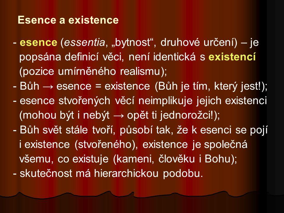 """Esence a existence - esence (essentia, """"bytnost , druhové určení) – je popsána definicí věci, není identická s existencí (pozice umírněného realismu); - Bůh → esence = existence (Bůh je tím, který jest!); - esence stvořených věcí neimplikuje jejich existenci (mohou být i nebýt → opět ti jednorožci!); - Bůh svět stále tvoří, působí tak, že k esenci se pojí i existence (stvořeného), existence je společná všemu, co existuje (kameni, člověku i Bohu); - skutečnost má hierarchickou podobu."""