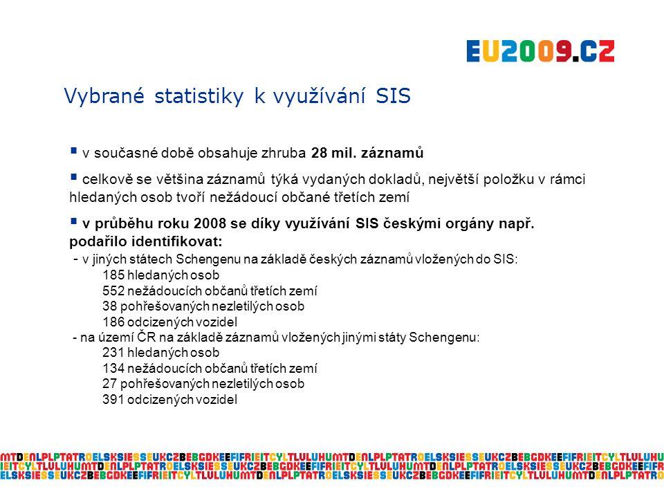 Vybrané statistiky k využívání SIS  v současné době obsahuje zhruba 28 mil.