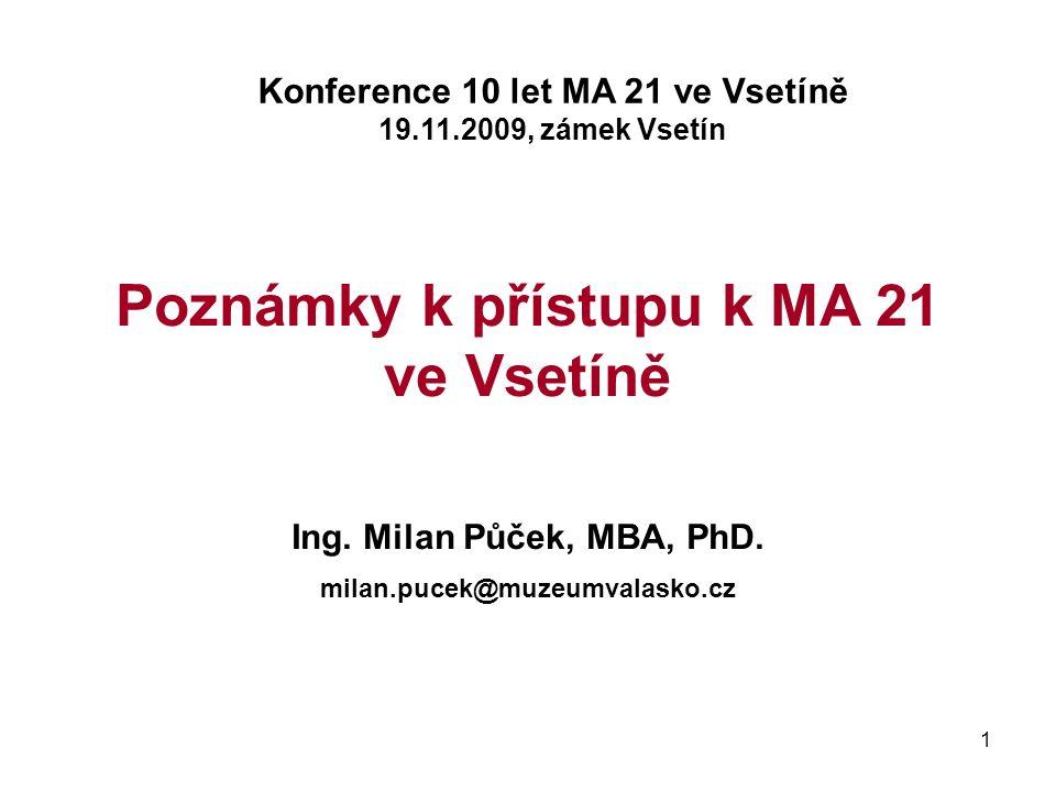 1 Poznámky k přístupu k MA 21 ve Vsetíně Ing. Milan Půček, MBA, PhD.