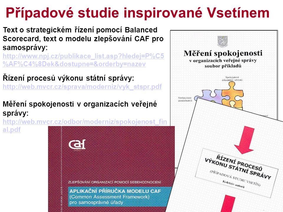 15 Případové studie inspirované Vsetínem Text o strategickém řízení pomocí Balanced Scorecard, text o modelu zlepšování CAF pro samosprávy: http://www.npj.cz/publikace_list.asp hledej=P%C5 %AF%C4%8Dek&dostupne=&orderby=nazev http://www.npj.cz/publikace_list.asp hledej=P%C5 %AF%C4%8Dek&dostupne=&orderby=nazev Řízení procesů výkonu státní správy: http://web.mvcr.cz/sprava/moderniz/vyk_stspr.pdf http://web.mvcr.cz/sprava/moderniz/vyk_stspr.pdf Měření spokojenosti v organizacích veřejné správy: http://web.mvcr.cz/odbor/moderniz/spokojenost_fin al.pdf http://web.mvcr.cz/odbor/moderniz/spokojenost_fin al.pdf