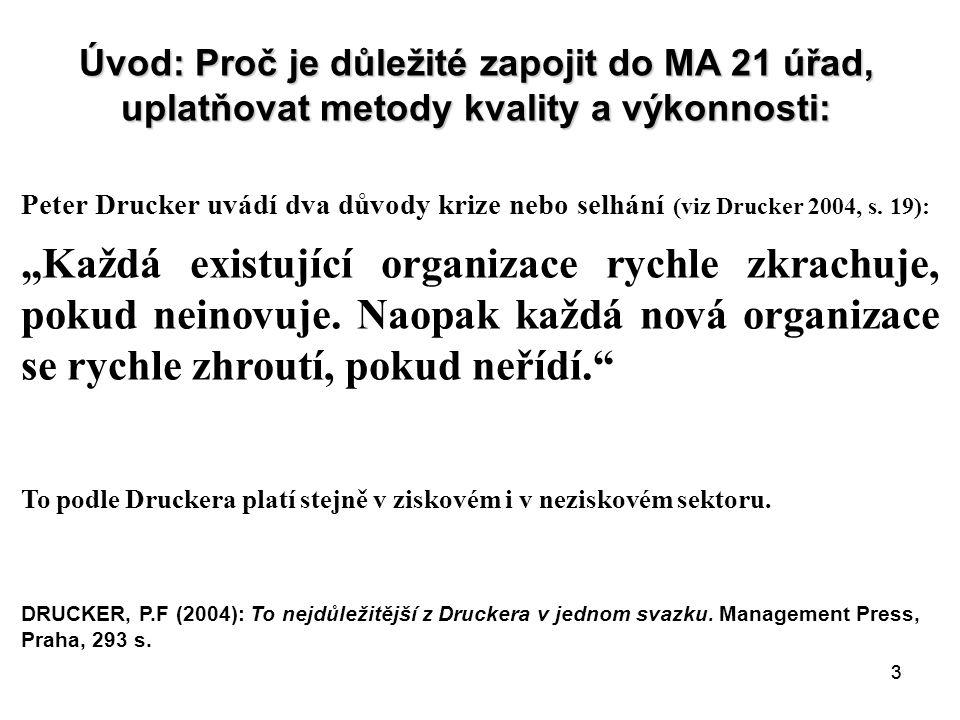 33 Úvod: Proč je důležité zapojit do MA 21 úřad, uplatňovat metody kvality a výkonnosti: Peter Drucker uvádí dva důvody krize nebo selhání (viz Drucker 2004, s.