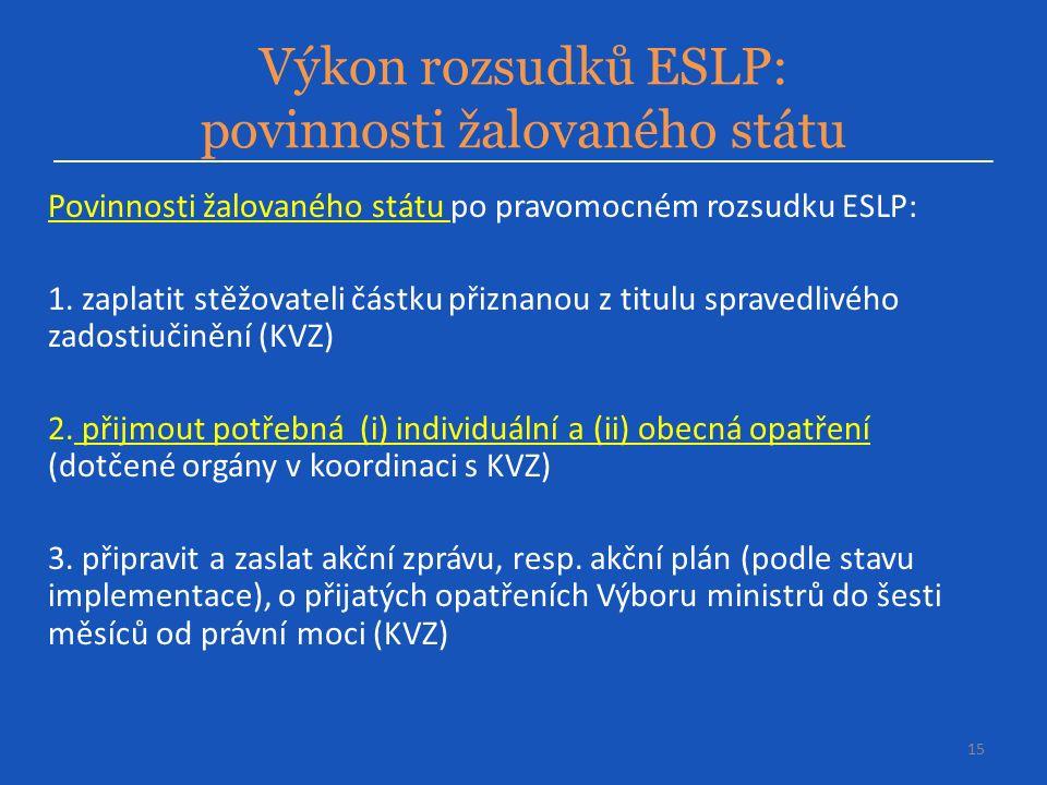 Výkon rozsudků ESLP: povinnosti žalovaného státu 15 Povinnosti žalovaného státu po pravomocném rozsudku ESLP: 1.