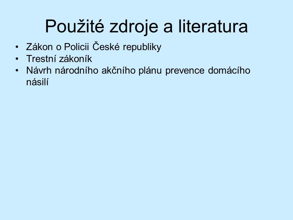 Použité zdroje a literatura Zákon o Policii České republiky Trestní zákoník Návrh národního akčního plánu prevence domácího násilí