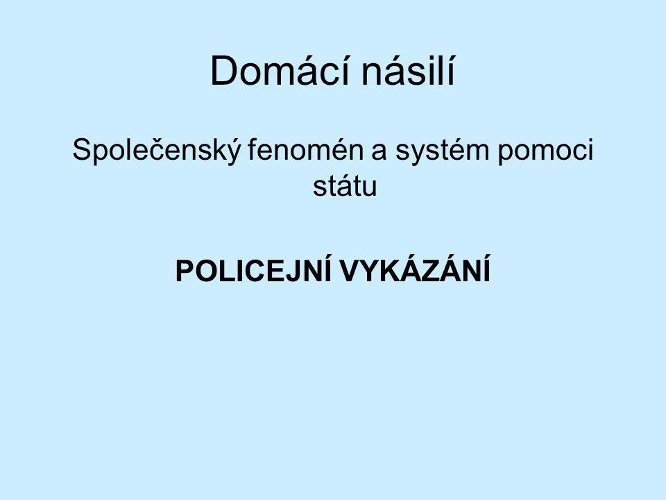 Domácí násilí Společenský fenomén a systém pomoci státu POLICEJNÍ VYKÁZÁNÍ