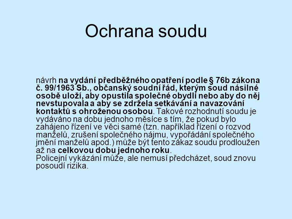 Ochrana soudu návrh na vydání předběžného opatření podle § 76b zákona č.