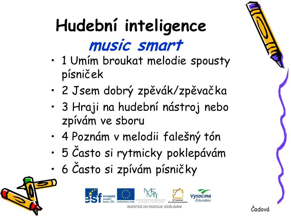 Hudební inteligence music smart 1 Umím broukat melodie spousty písniček 2 Jsem dobrý zpěvák/zpěvačka 3 Hraji na hudební nástroj nebo zpívám ve sboru 4 Poznám v melodii falešný tón 5 Často si rytmicky poklepávám 6 Často si zpívám písničky Čadová