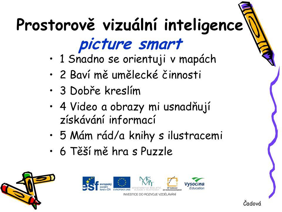 Prostorově vizuální inteligence picture smart 1 Snadno se orientuji v mapách 2 Baví mě umělecké činnosti 3 Dobře kreslím 4 Video a obrazy mi usnadňují získávání informací 5 Mám rád/a knihy s ilustracemi 6 Těší mě hra s Puzzle Čadová