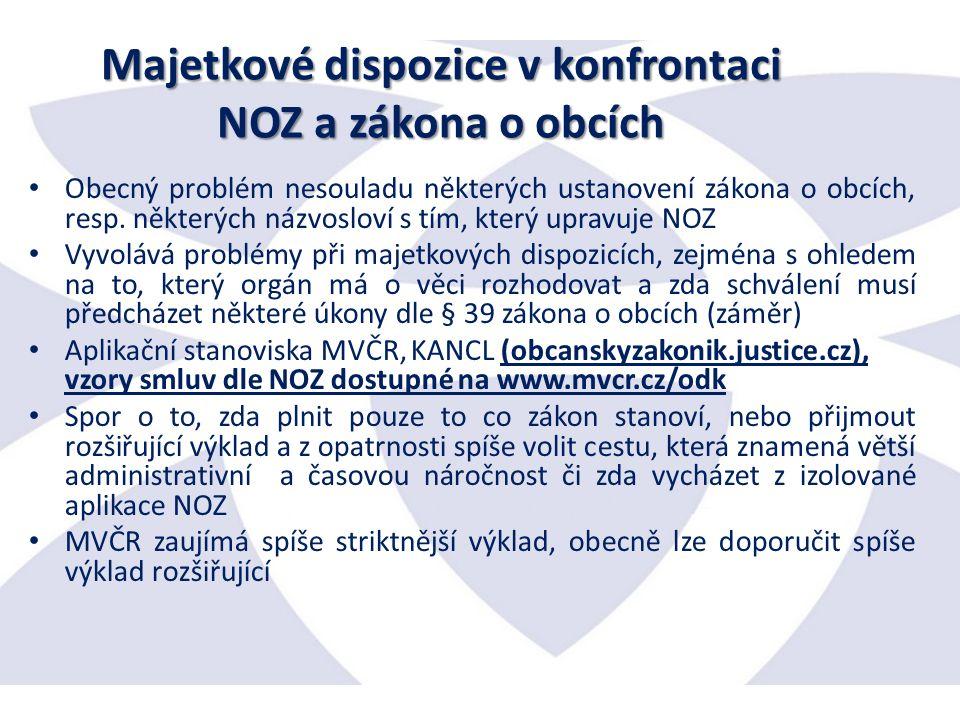 Majetkové dispozice v konfrontaci NOZ a zákona o obcích Obecný problém nesouladu některých ustanovení zákona o obcích, resp.