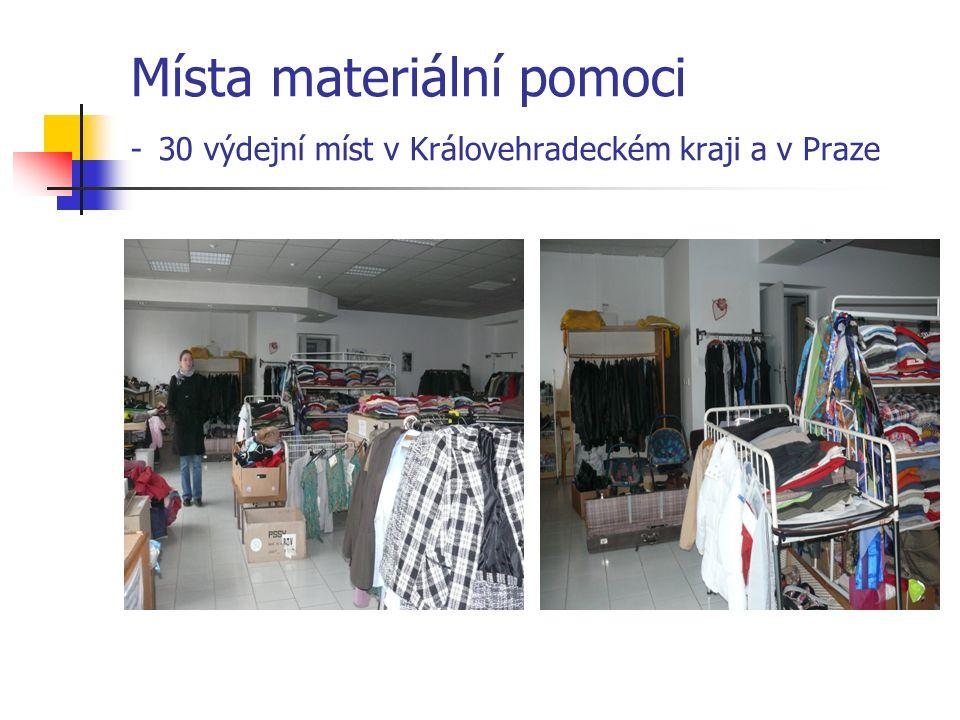 Místa materiální pomoci - 30 výdejní míst v Královehradeckém kraji a v Praze