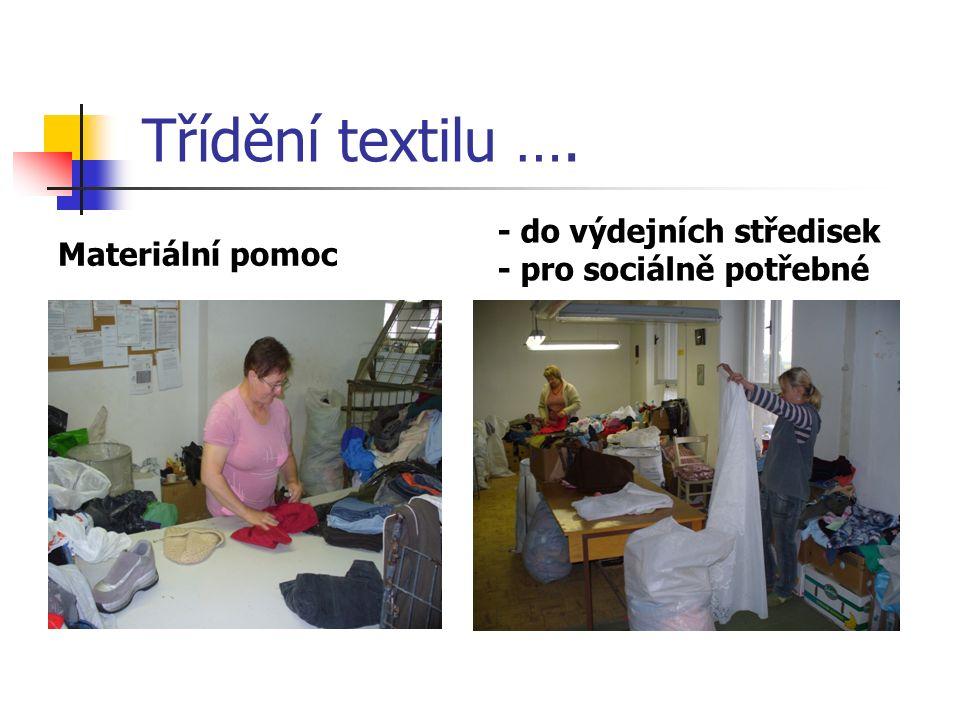 Třídění textilu …. Materiální pomoc - do výdejních středisek - pro sociálně potřebné