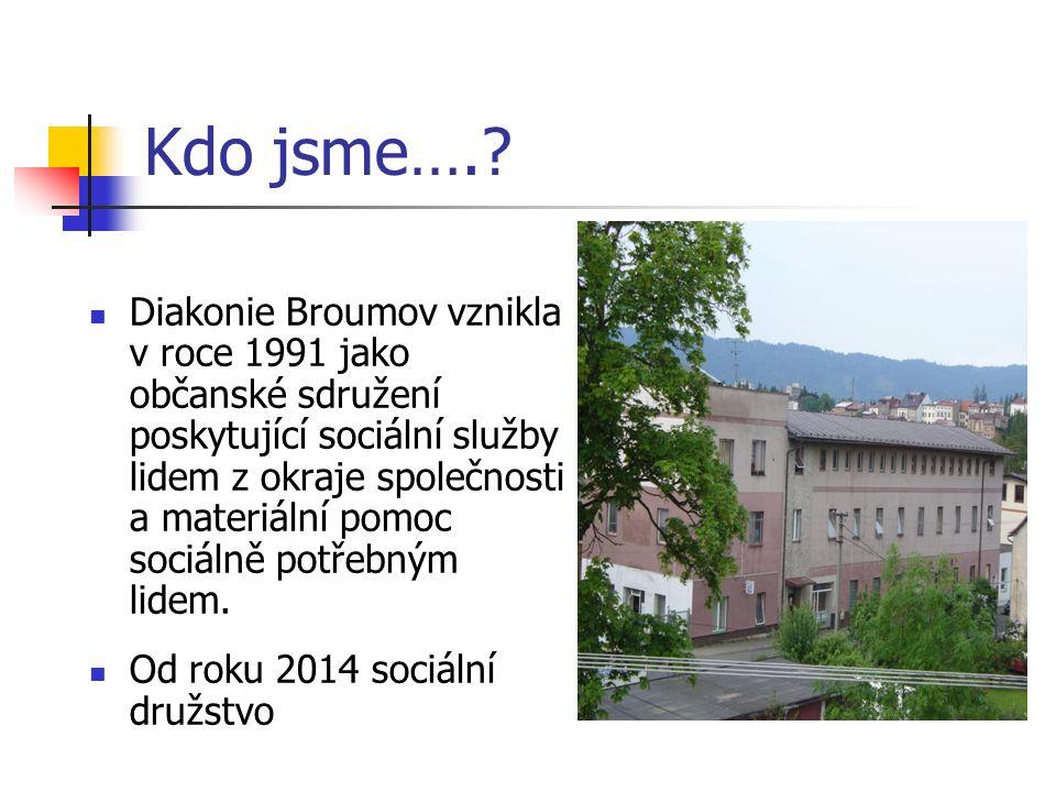 Kdo jsme….? Diakonie Broumov vznikla v roce 1991 jako občanské sdružení poskytující sociální služby lidem z okraje společnosti a materiální pomoc soci