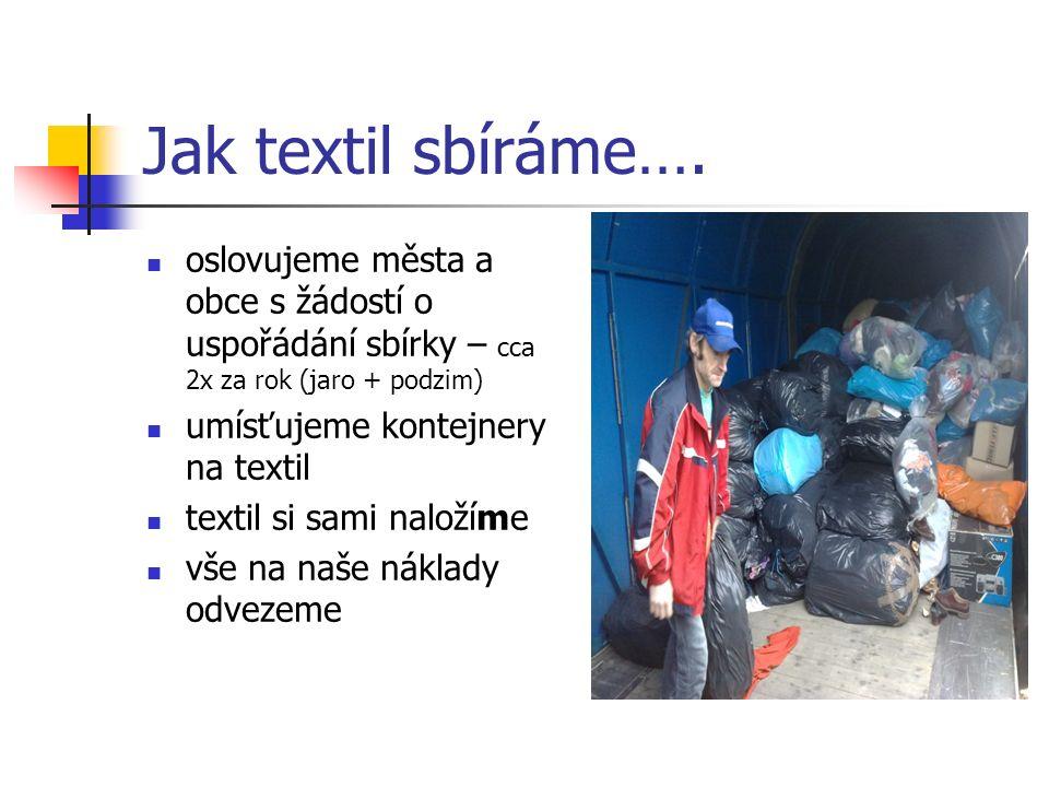 Jak textil sbíráme…. oslovujeme města a obce s žádostí o uspořádání sbírky – cca 2x za rok (jaro + podzim) umísťujeme kontejnery na textil textil si s