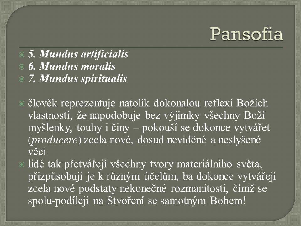  5. Mundus artificialis  6. Mundus moralis  7. Mundus spiritualis  člověk reprezentuje natolik dokonalou reflexi Božích vlastností, že napodobuje
