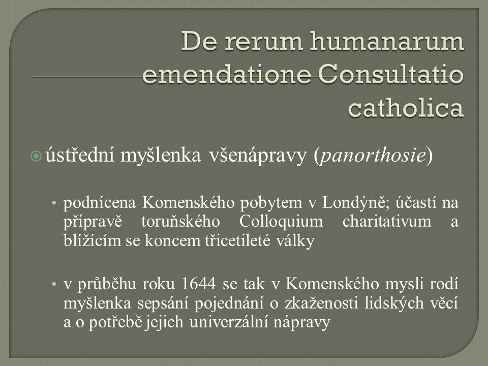  ústřední myšlenka všenápravy (panorthosie) podnícena Komenského pobytem v Londýně; účastí na přípravě toruňského Colloquium charitativum a blížícím