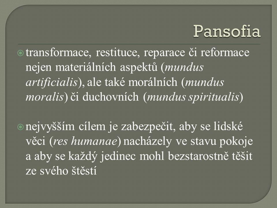  transformace, restituce, reparace či reformace nejen materiálních aspektů (mundus artificialis), ale také morálních (mundus moralis) či duchovních (