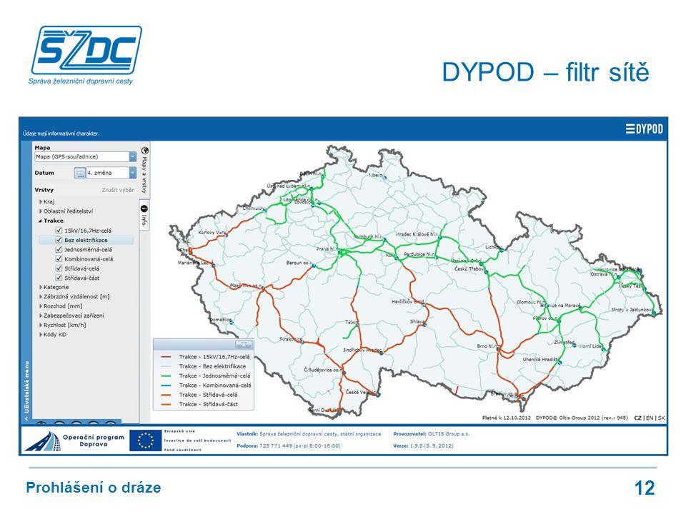 12 Prohlášení o dráze DYPOD – filtr sítě