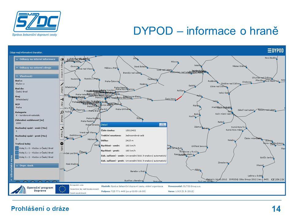 14 Prohlášení o dráze DYPOD – informace o hraně