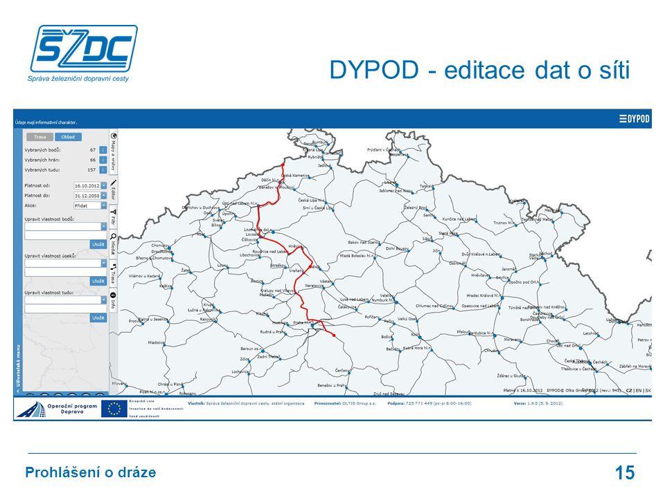 15 Prohlášení o dráze DYPOD - editace dat o síti