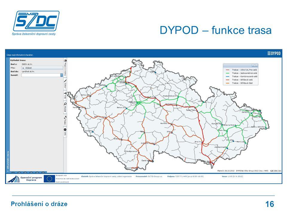 16 Prohlášení o dráze DYPOD – funkce trasa