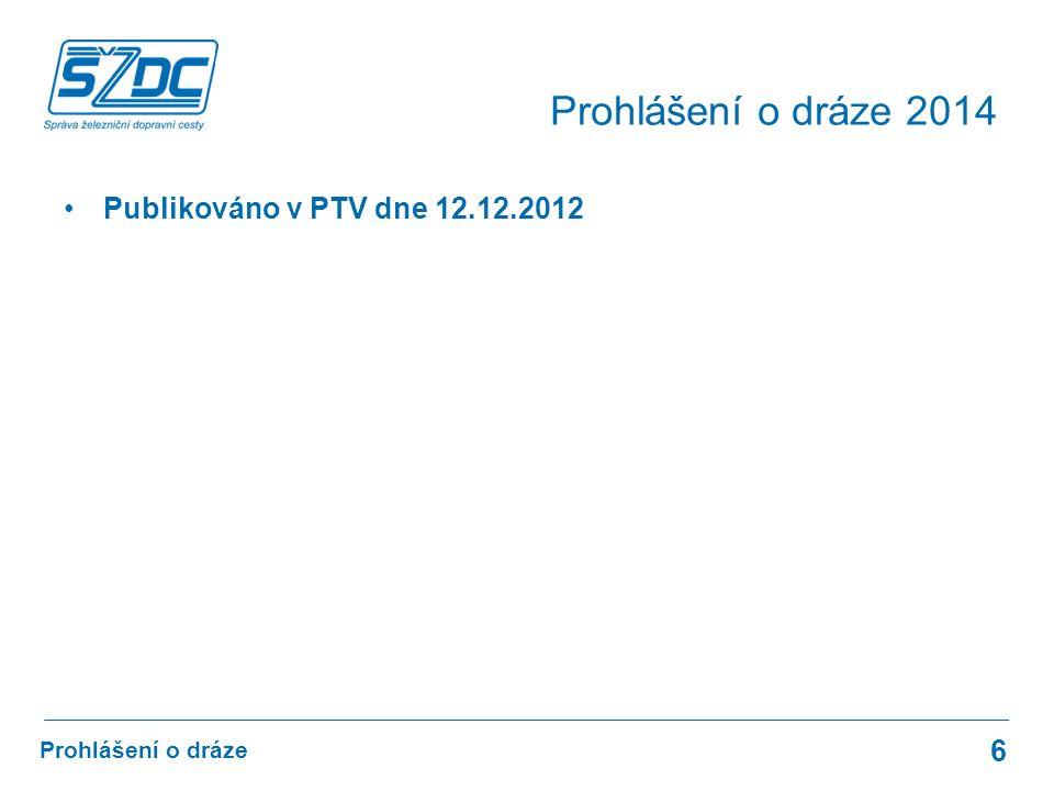 Publikováno v PTV dne 12.12.2012 6 Prohlášení o dráze Prohlášení o dráze 2014