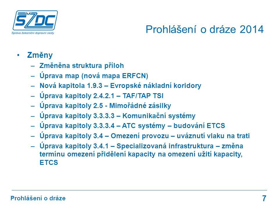 Změny –Změněna struktura příloh –Úprava map (nová mapa ERFCN) –Nová kapitola 1.9.3 – Evropské nákladní koridory –Úprava kapitoly 2.4.2.1 – TAF/TAP TSI –Úprava kapitoly 2.5 - Mimořádné zásilky –Úprava kapitoly 3.3.3.3 – Komunikační systémy –Úprava kapitoly 3.3.3.4 – ATC systémy – budování ETCS –Úprava kapitoly 3.4 – Omezení provozu – uváznutí vlaku na trati –Úprava kapitoly 3.4.1 – Specializovaná infrastruktura – změna termínu omezení přidělení kapacity na omezení užití kapacity, ETCS 7 Prohlášení o dráze Prohlášení o dráze 2014
