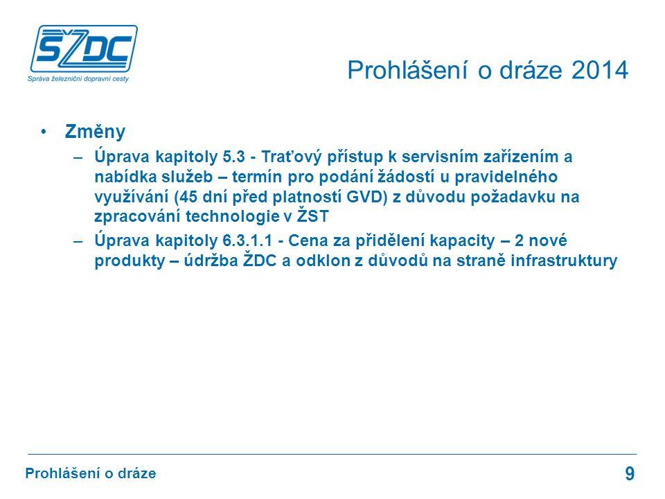 Změny –Úprava kapitoly 5.3 - Traťový přístup k servisním zařízením a nabídka služeb – termín pro podání žádostí u pravidelného využívání (45 dní před platností GVD) z důvodu požadavku na zpracování technologie v ŽST –Úprava kapitoly 6.3.1.1 - Cena za přidělení kapacity – 2 nové produkty – údržba ŽDC a odklon z důvodů na straně infrastruktury 9 Prohlášení o dráze Prohlášení o dráze 2014
