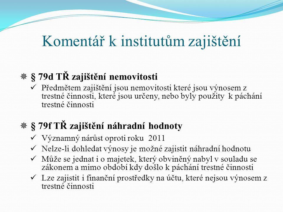 Komentář k institutům zajištění  § 79d TŘ zajištění nemovitosti Předmětem zajištění jsou nemovitosti které jsou výnosem z trestné činnosti, které jso