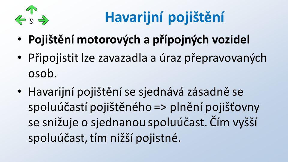 Pojištění motorových a přípojných vozidel Připojistit lze zavazadla a úraz přepravovaných osob.