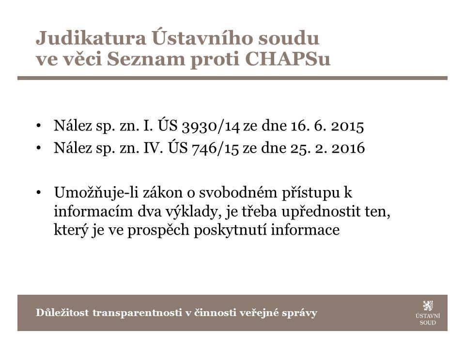Judikatura Ústavního soudu ve věci Seznam proti CHAPSu Nález sp.