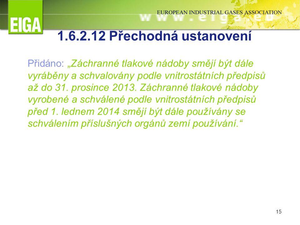 """15 1.6.2.12 Přechodná ustanovení Přidáno: """"Záchranné tlakové nádoby smějí být dále vyráběny a schvalovány podle vnitrostátních předpisů až do 31."""